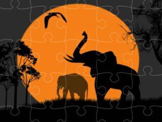 Elephant Silhouette Jigsaw